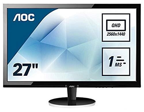 AOC Q2778VQE 68,6 cm (27 Zoll) Monitor (VGA, DVI, HDMI, DisplayPort, 2560 x 1440, 60 Hz, 1ms Reaktionszeit, ohne Lautsprecher) schwarz