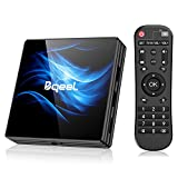 Última Versión Android TV Box 【4GB RAM+64GB ROM】 Bqeel Android 10.0 TV Box RK3318 Quad-Core 64bit Cortex-A53 con 5GHz / 2.4GHz WiFi ,BT 4.0,2k*4K UHD H.265, USB 3.0 Smart TV Box