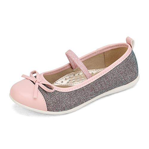 DREAM PAIRS Girls Ballerina Dress Shoes Elastic Strap and Bow Mary Jane Flats Pink Size 10 Toddler SASA-3