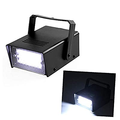 Mini White Strobe Stage Light with Super Bright 24 LEDs Adjustable Speed Flash Party Lighting Dance Lights Best for Home Room Parties Kids Birthday Halloween Christmas Wedding Show Club Pub