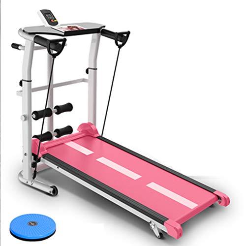 Loopbanden Niet-elektrische huishoudelijke modellen Kleine demper Fitnessapparatuur Multifunctionele mechanische vouwfamilie Loopmachine Fitness Gewichtsverlies Artefact,Pink