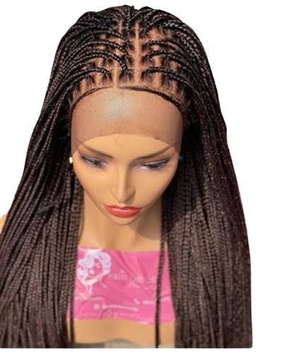 Wow Braids Frontal Knotless Synthetic Braided Luxury Dedication Wig Black Hand for