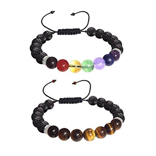 Ezina Designs Meditation 2 for 1 Lava Rock Bead Essential Oil Diffuser 7 Chakra Healing Bracelet Gemstone Tigers Eye Combo Adjustable Bracelet Set of 2 Health Wellness Unisex Bracelets
