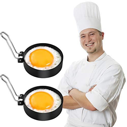 Egg Ring Professional Non Stick Egg Rings Egg Make Molds Round Pancake Mold Stainless Steel Breakfast Household Mold Tool Cooking for Frying Egg Mcmuffin Sandwiches Egg Mold 2pcs