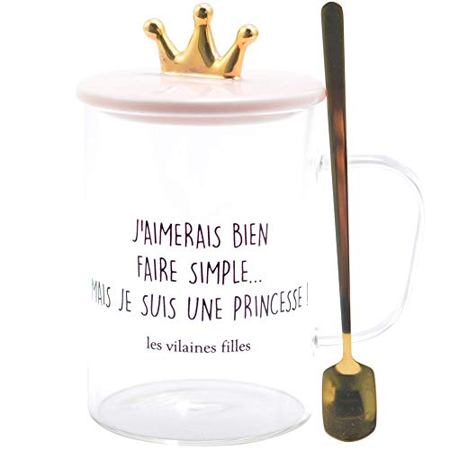 Les Vilaines Chilles 40-VF-057 - Taza con tapa y cuchara de princesa (cristal, cerámica y metal, 12,5 x 14,5 cm), color transparente y rosa
