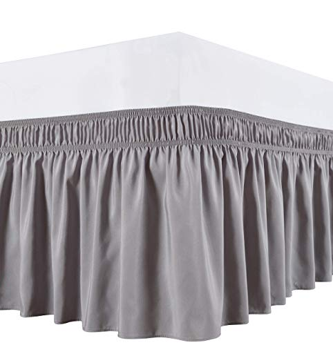 Wrap Around Bed Skirts Elastic Dust Ruffles, Easy Fit Wrinkle and Fade Resistant Silky Microfiber Fabric Solid Color Bedskirt, 12 Inch Tailored Drop Silver for Cal King Size Bed Skirt
