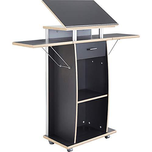 Certeo Stehpult in Anthrazit | Mobiler Tisch mit Laufrollen | Verstellbare Tischfläche | HxBxT 130 x 70 x 37 cm | Stehtisch Pult Tisch
