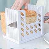 Cortador de pan, rebanador de pan Tostadora Cortadora de pan tostado Guía de corte Ajustable 4 Pan Ancho Tamaño de rebanada con bandeja de migas para hecho en casa