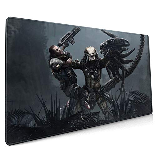 Professional Large Gaming Mouse Pad,Alien-Vs-Predator-Games,90x40cm Computer Mouse Mat,Keyboard Non-Slip Rubber Base Water Resistant Stitched Edge,Mouse Pad Large