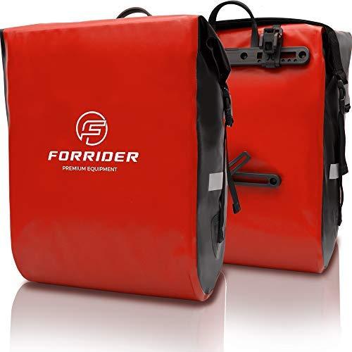 Forrider Fahrradtaschen für Gepäckträger - 100% Wasserdicht [2 Stück] 50L Volumen Premium Fahrrad Gepäckträgertaschen hinten Pack-Taschen Hinterradtaschen (Rot)
