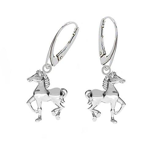 G-H* KIDS Pferd Brisur Ohrringe 925 Echt Silber Kinder Mädchen Damen Mädchen Pferde Ohrhänger