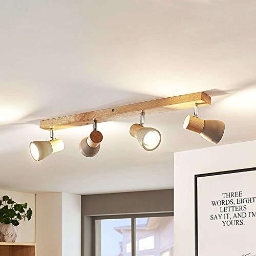 Lindby LED Deckenlampe Holz Beton | Deckenstrahler schwenkbar & drehbar | inkl. 4x4,5W LED A+ austauschbar | 3.000K | Deckenleuchte, Strahler