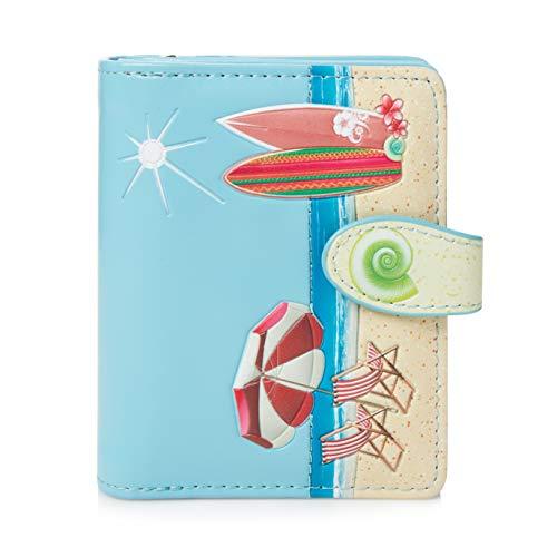 Shagwear portafoglio per giovani donne Small Purse : Diversi colori e design: (cartolina spiaggia blu cielo/Beach Post Card)