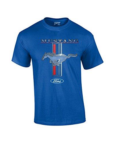 Ford Mustang T-Shirt Pony & Stripes Logo Classic Retro Design Racing Performance...