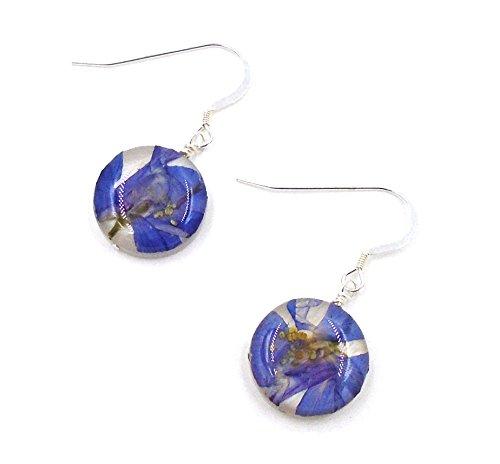 """Larkspur"" Floral Hanging Earrings by Shari Dixon"