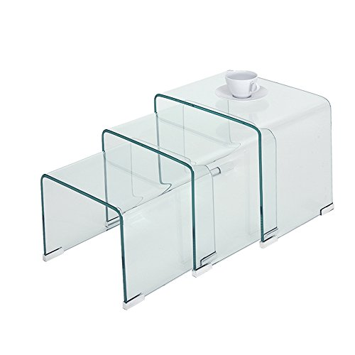 Panana pal Bent Glass Nest Tables Set of 3 Side Tables Coffee Table (Clear)