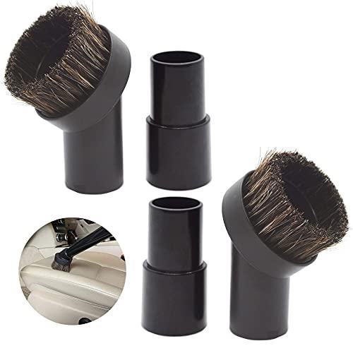 Horse Hair Vacuum Attachment, 2 Pieces Round Universal Vacuum Dust Brush Attachments, 2 Pieces Dog Dusty Brush Vacuum Attachment Hose Adapter, Micro Vacuum Duster Cleaner Attachments Universal