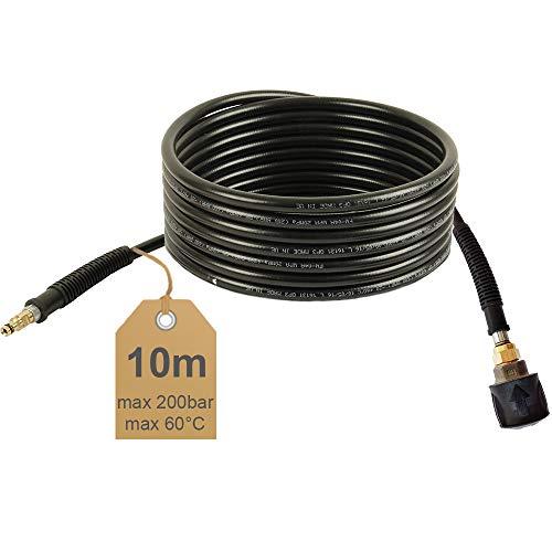 Manguera de alta presión de garantía, 10m, para limpiar tuberías (, 60°C, Quick Connect, NW 6x 1, adecuado para Kärcher limpiador de alta presión