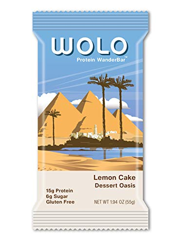 WOLO WanderBar Lemon Cake Natural Protein Bar – Gluten Free Protein Snack with Whey Protein Pea Protein Milk Protein and Antioxidants 12 Count