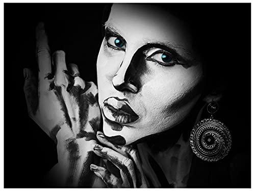 wandmotiv24 Deco muurfoto gemaakt van acrylglas, maat 160x120cm, liggend formaat, zwart-wit schmink, vrouw, kunst, foto, make-up, model, decoratie modern appartement, decoratie, acryl, wanddecoratie slaapkamer M0101