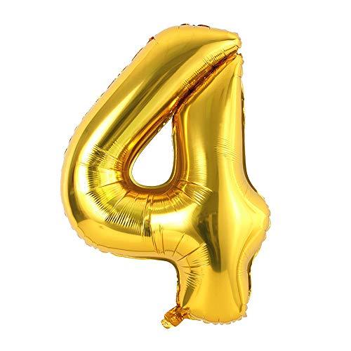 Ponmoo Foil Globo Número 4 Dorado, Gigante Numeros 0 1 2 3 4 5 6 7 8 9 10-19 20-29 30 40 50 60 70 80 90 100, Grande Globos para La Boda Aniversario, Globo de Cumpleaños Fiesta Decoración