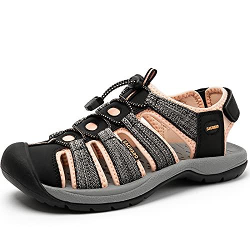 SAGUARO Flat Sandal Damen Atmungsaktiv Gummi Sandale Geschlossene Sandalen Schwarz 39 EU