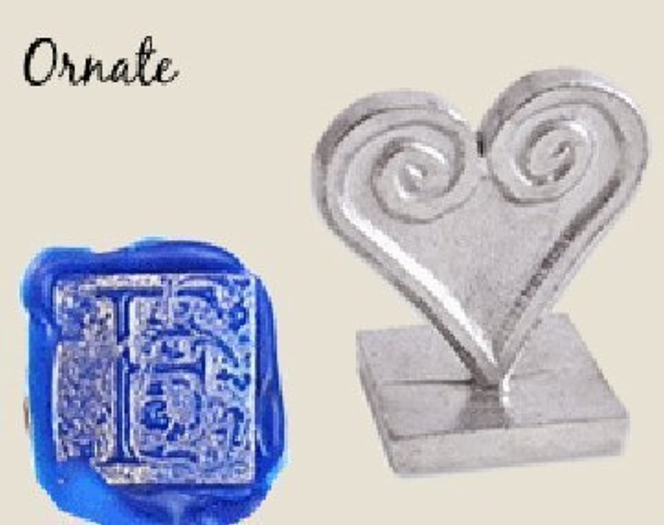 Initial Wax Seal Stamp - 3/4 Square Pewter Ornate Letter F by Global Solutions