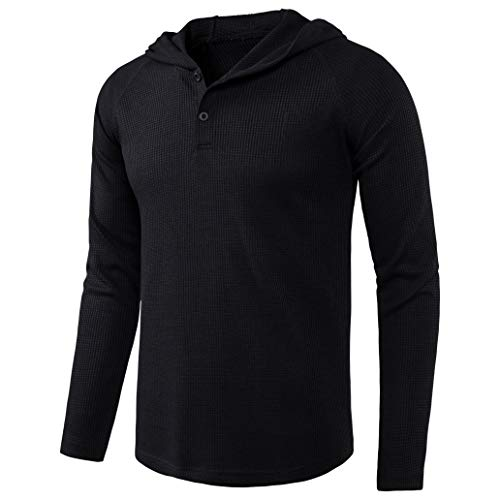 DELCARINO Men's Causal Pullover Hoodie Lightweight Solid Color Hooded Sweatshirt Tops Long Sleeve Waffle-Knit Henley Shirt (X-Large, Black)