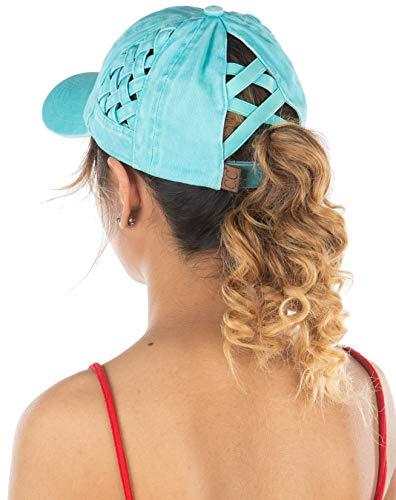 Criss Cross Hat Womens Baseball Cap Distressed Ponytail - Mint Basket Weave