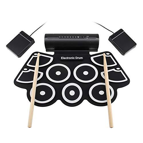 Byfjkkl Tragbares elektronisches Schlagzeug mit 9 Pads, Sticks und Fußpedalen, pädagogisches Spielzeug für Kinder, Jungen, Mädchen und Kleinkinder