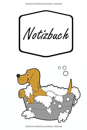 Notizbuch: Lustig süßer Hund in Badewanne im Cartoon Comic Style   für Notizen, Skizzen, Zeichnungen, als Kalender oder Tagebuch; breites Linienraster ...   liniertes Papier   Soft Cover   100 Seiten)
