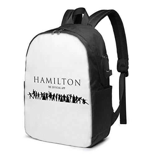 Lawenp Hamilton Mochila de Viaje Duradera Mochila Escolar Mochila para portátiles con Puerto de Carga USB para Hombres y Mujeres