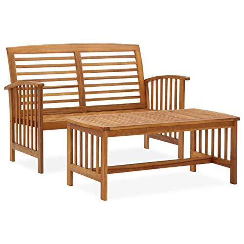 vidaXL Madera Maciza de Acacia Juego de Muebles de Jardín 2 Piezas Exterior Patio Terraza Silla Asiento Suave Salón Mesa de Centro con Respaldo