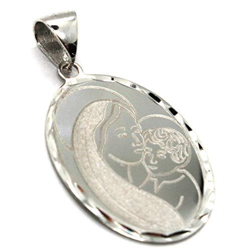 Colgante medalla Oro Blanco de 18K, VIRGEN maría y jesús Niño, Ovalado con marco elaborada