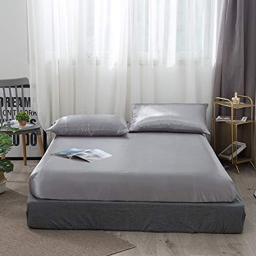 GEDHH Mattress Protector Cover, Super Soft Satin Silk Fitted Sheet Pillowcase Mattress Cover Bed Sheet Set Deep Pocket Fully Elastic Band Twin Full Queen King,B,180 * 200 * 30cm