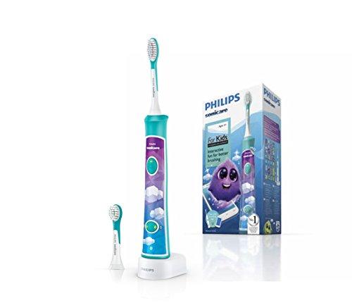 Philips HX6322/04 Sonicare ForKids - Spazzolino Elettrico per Bambini con Tecnologia Sonicare, Connesso all\'App per un\'Igiene Orale Divertente