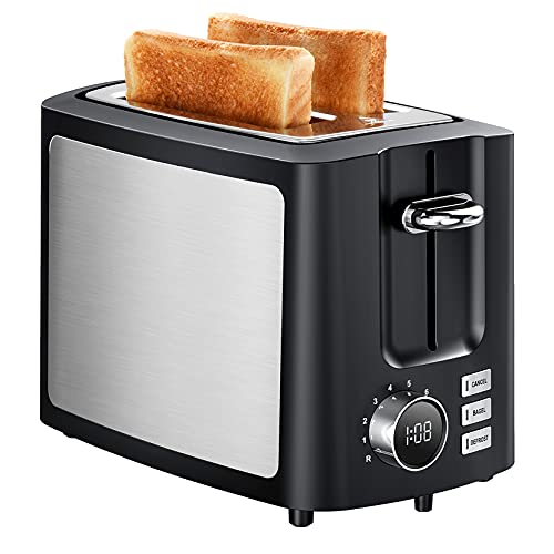 Toaster 2 Slice Extra-Wide Slot, LED Display & 6 Shade Settings, Stainless...