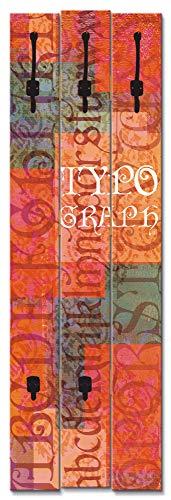 Artland Wandgarderobe Holz Design mit 5 Haken Garderobe mit Motiv 45x140 cm Shabby Chic Schriftzug Abstrakt Schrift Kunst Kreativ Rot T9OK