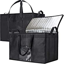 NZ Home 2 Pack XXXL Food Delivery Bags, Insulated Reusable Grocery Bag | Ideal for Uber Eats, Instacart, Doordash, Grubhub, Postmates, Restaurant, Catering, Grocery Transport | Dual Zipper (XXXL 2 Pack)