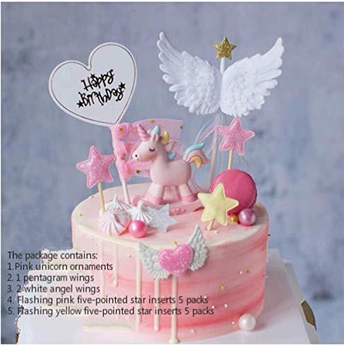 Cake Decoration Plugin Rocking Horse Trojan Birthday Party Children's Creative Accessories Set-Unicorn Set Fivezeenca