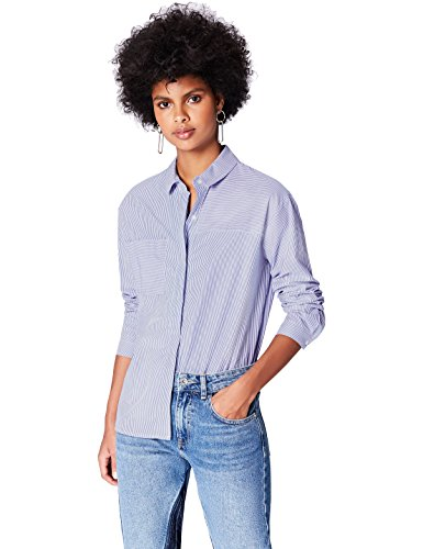 Amazon-Marke: find. Damen Hemd Boyfriend Azi, Blau (Blue Stripe), 38, Label: M