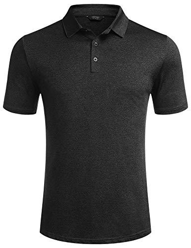 COOFANDY Poloshirt Herren Kurzarm Regular Fit Sport Polo Shirts Polokragen Basic Freizeit Polohemden für Männer Schwarz M