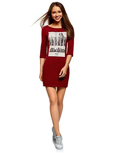 oodji Ultra Mujer Vestido de Punto con Estampado, Rojo, ES...
