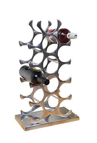 Weinregal Flaschenregal Flasche Aluminium Silber Luxus - Weinständer, Regal Modern aus Metall - 60 cm XL