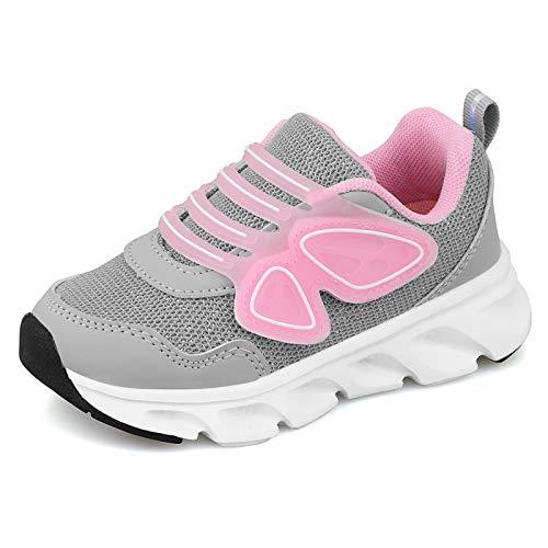 Zapatillas Niña Zapatos Deportivo Transpirable Niño Zapatos de Running bebé Transpirables Antideslizante Deportes de Exterior Interior Niñas(27 EU/CN 27,Gris)