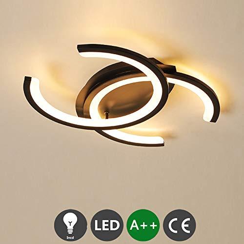 LED plafondlamp woonkamer lamp kinderkamer plafondlamp eetkamer kroonluchter moderne lamp verlichting warm wit plafond licht zwart dubbele C halogeen keuken entree