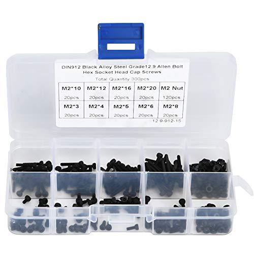 Tornillos de cabeza hueca de acero de aleación negra de 300 piezas Perno de 12,9 grados con tuerca accesoria M3 x 4-20 mm