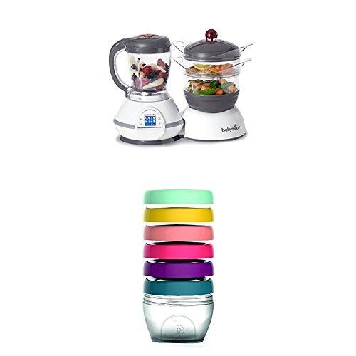 Babymoov Nutribaby Classic A001114 - Procesador de alimentos para bebés, color cereza + Babymoov Babybols A004308 - Pack de 6 cajas de conservación, tamaño 180 ml
