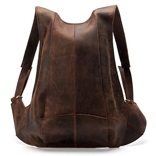 LUUFAN Leder-Rucksack mit Diebstahlschutz auf der Rückseite mit Reißverschluss, Schultasche, lässiger Racksack für Damen und Herren (Dunkelbraun)