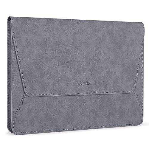 MOSISO Laptop Sleeve Bag Compatible with MacBook Air 13 inch A2337 M1 A2179 A1932, 13 inch MacBook Pro A2338 M1 A2289 A2251 A2159 A1989 A1706 A1708, PU Leather Ultra Slim Flap Style Case, Space Gray